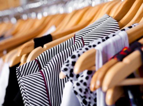 Multi-coloured wardrobe showcase, closeup