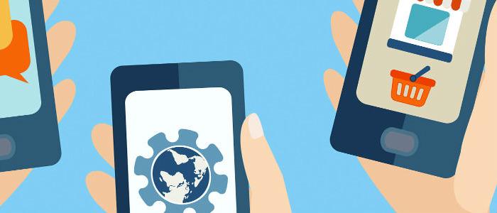 ilustração de mãos segurando um smartphone que utiliza o AMP para e-commerce