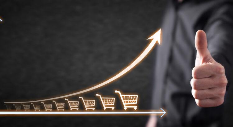 Gráfico mostrando o crescimento das vendas de e-commerce