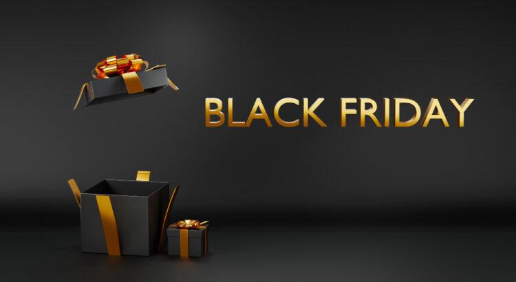 Caixa de presente com escritas ao lado dizendo: Black Friday